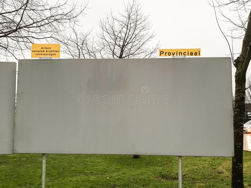 Billboard for election posters for the regional, provincial, elections in the Netherlands in March 2019 royalty free stock photos