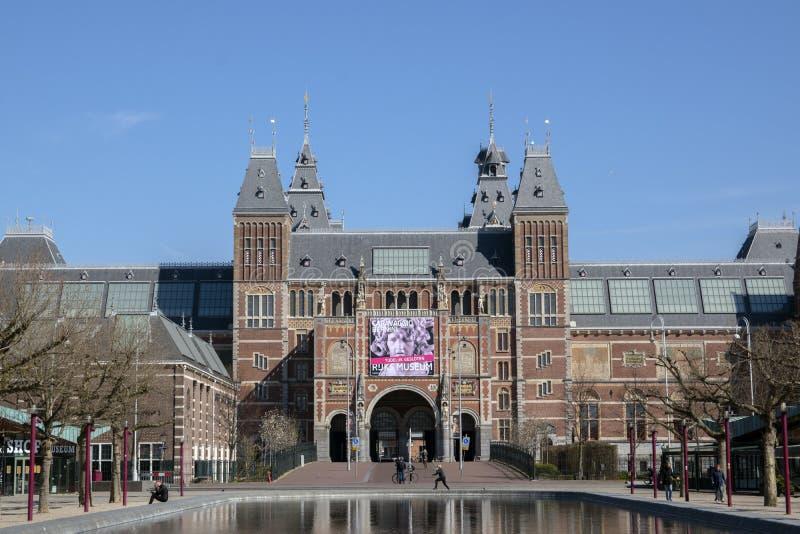 Billboard Exhibition Baroque W Rzymie W Rijksmuseum Zamknięte W Trakcie Epidemii Coronavirus Amsterdam Holandia 2020 zdjęcie stock