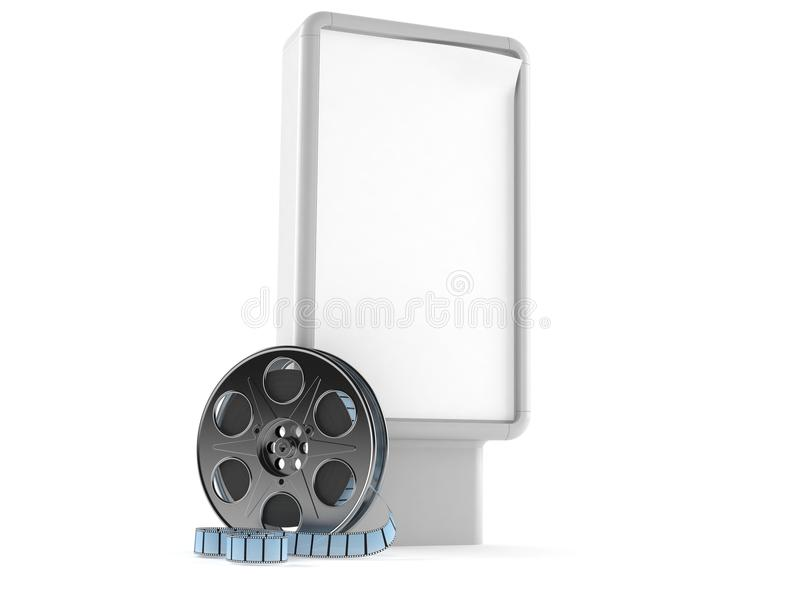 Billboard with film reel. Isolated on white background vector illustration