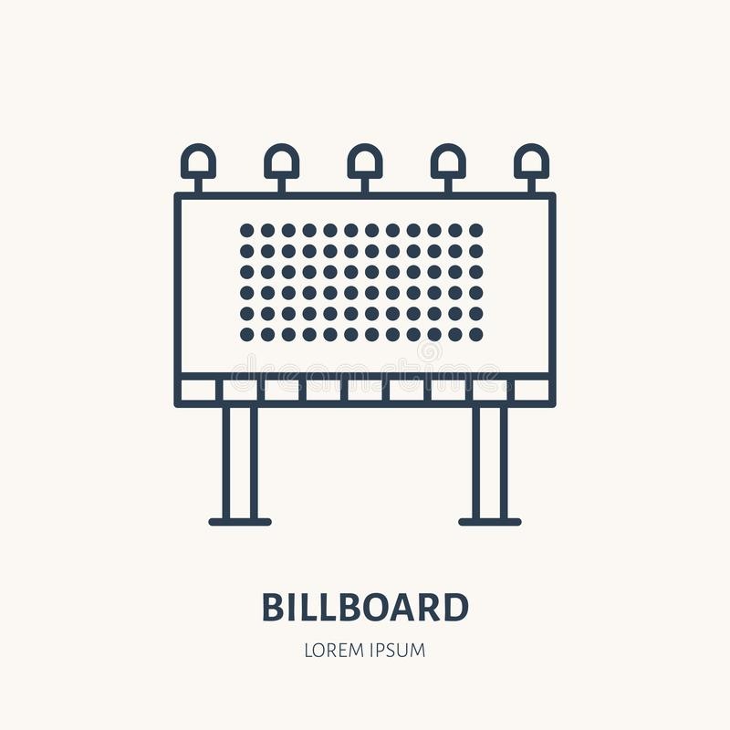 Billboard flat line icon. Outdoor advertising sign. Thin linear logo for street ads, marketing services.  stock illustration