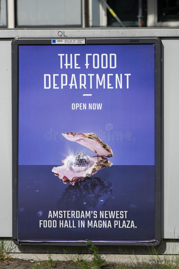 Billboard The Food Department Magna Plaza New Food Hall At Amsterdam The Netherlands 2019.  royalty free stock photo