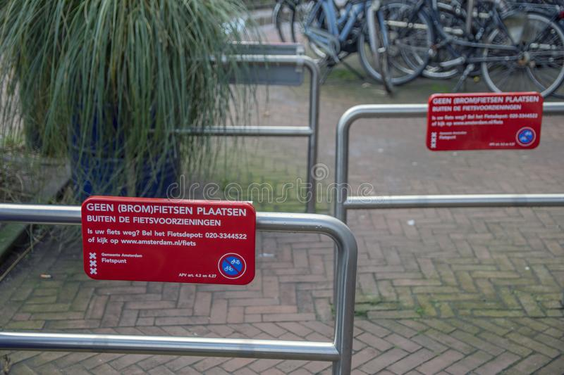 Billboard Forbidden To Park Vehicles At Amsterdam The Netherlands 2019.  stock photography