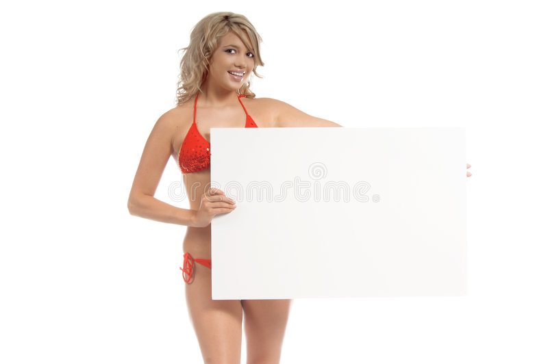 Billboard Girl. Beautiful blond in a red sequined bikini holdong a blank poster board over her head. Perfect for signage and advertising