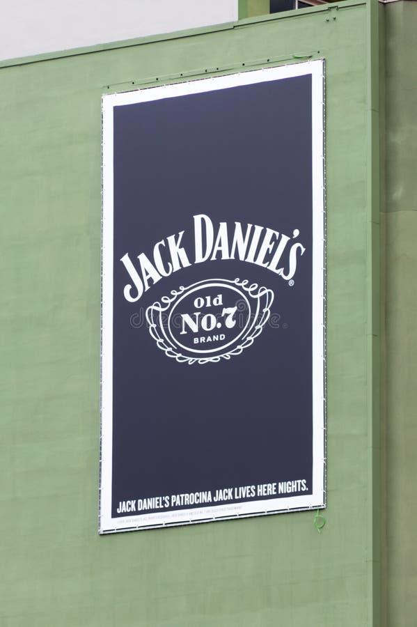 Billboard Jack Daniel ` s Stary Żadny 7 Tennessee whisky zdjęcia royalty free