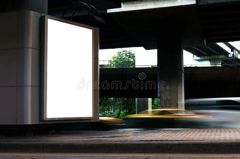 Billboard light box blank white Light signs under the expressway panel for sign Advertising on the road, Billboard box sign empty stock photography