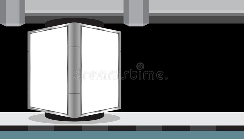 Billboard light box blank white for media ad, empty light box for advertising and copy space, signs under the expressway panel for royalty free illustration