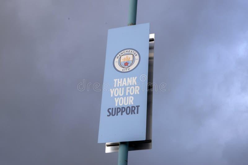 Billboard Manchester City Football Club Obrigado Pelo Seu Apoio Em Manchester England 2019 imagens de stock