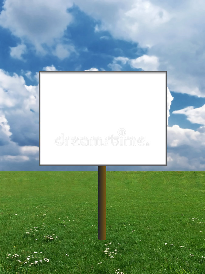 Billboard on a meadow royalty free stock images