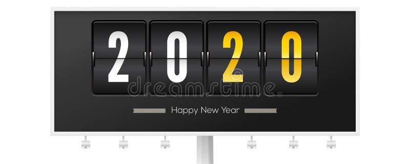 Billboard med hälsningar från jul eller nyår 2020 Timer för analog nedräkning Mekanisk flip-klocka på svart stock illustrationer