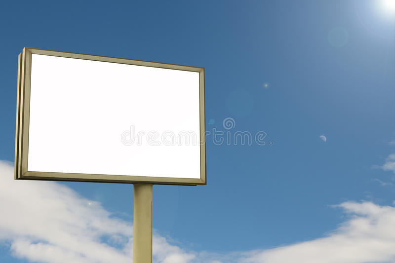 Billboard and Moon blue sky stock photo
