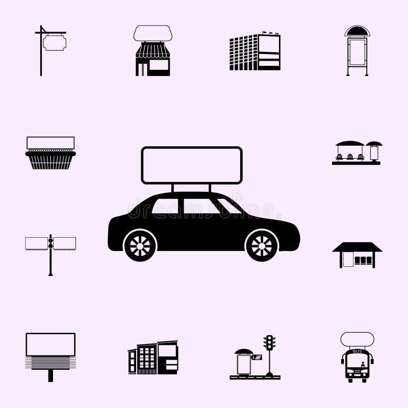 billboard na samochodowej ikonie Billboard ikon og?lnoludzki ustawiaj?cy dla sieci i wisz?cej ozdoby ilustracja wektor