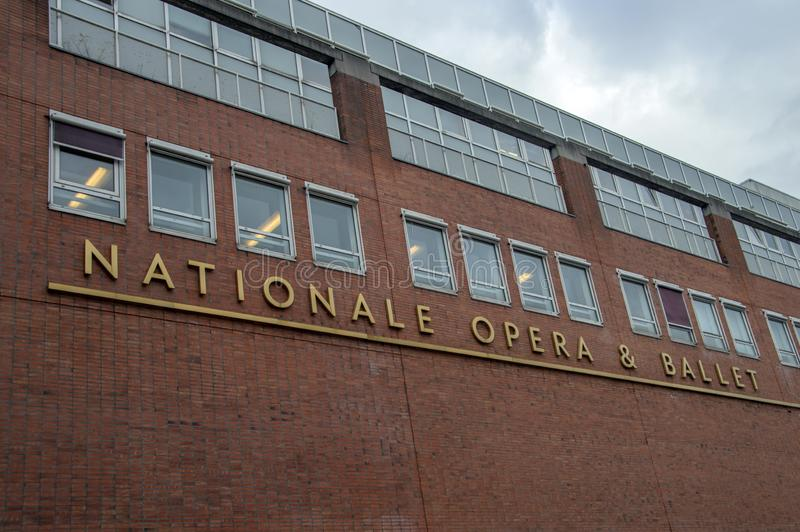 Billboard National Opera & Ballet Building Part Of The Stopera Building At Amsterdam The Netherlands 2018 stock images