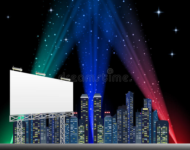 Download Billboard In Night City stock vector. Image of background - 43442668