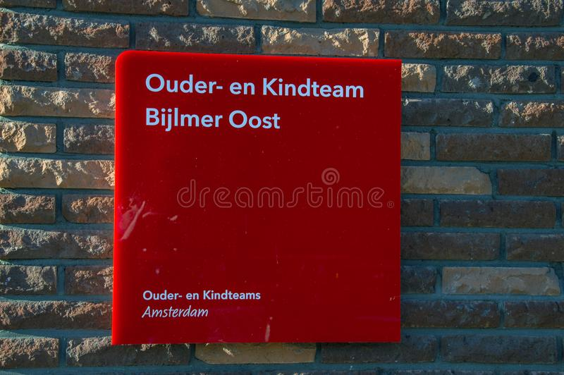 Billboard Ouder- En Kindteam Bijlmer Oost Amsterdam The Netherlands 2018.  stock photo