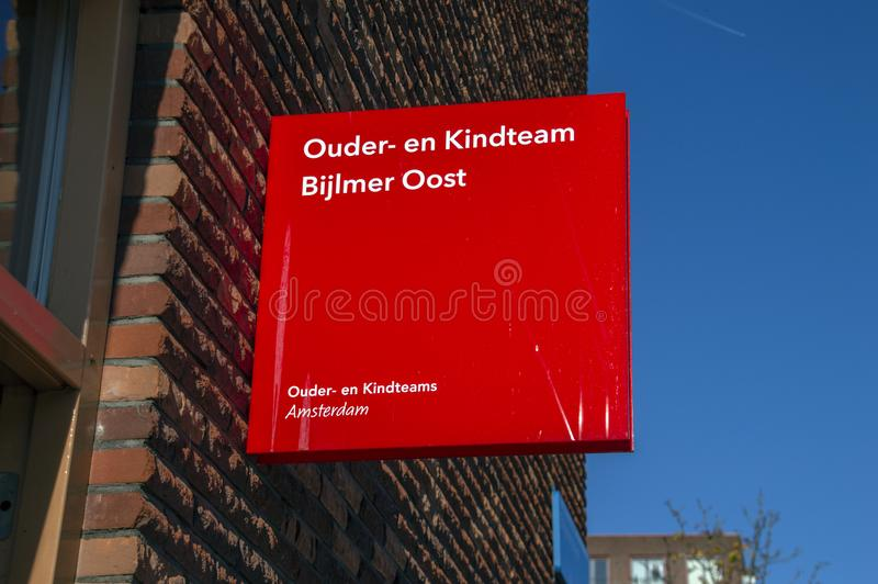 Billboard Ouder- En Kindteam Bijlmer Oost Amsterdam The Netherlands 2018.  stock images
