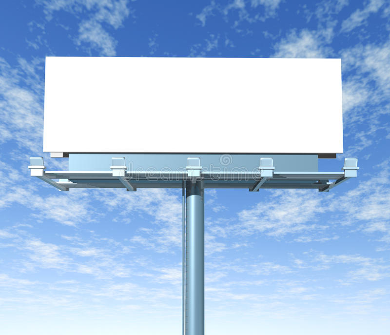 Billboard outdoor display with sky. Billboard horizontal outdoor display with sky background royalty free illustration