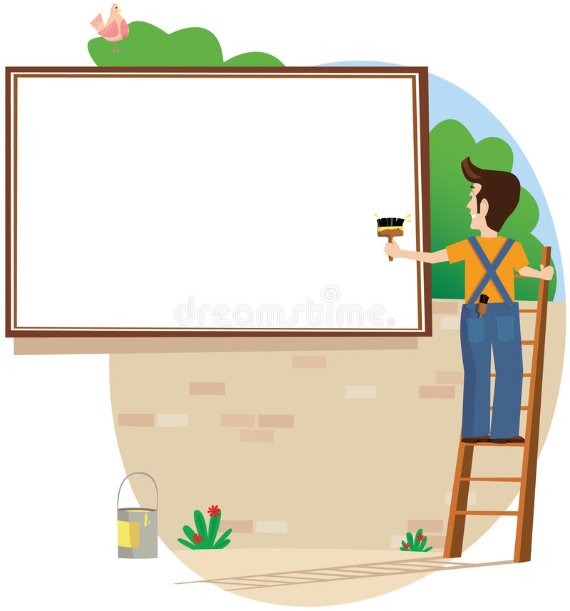 Billboard poster. A man pasting onto a billboard. Blank area is for your own message. E.P.S. 10 vector file included with image, isolated on white stock illustration