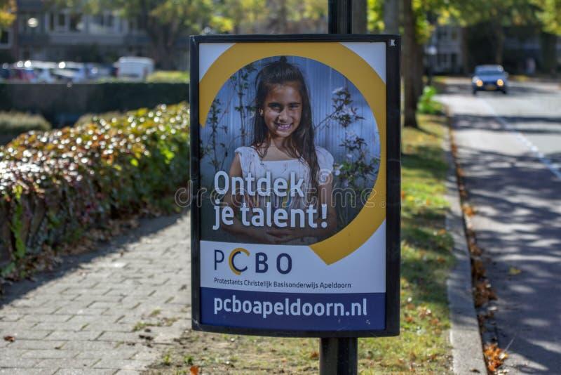 Billboard Protestant Basisonderwijs Apeldoorn The Netherlands 2018.  stock photos