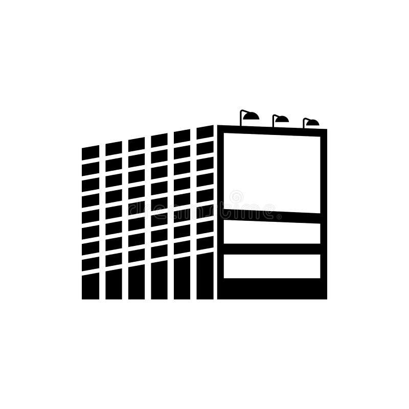 billboard przy budynkiem biurowym ikona Element reklamowego billboarda ikona Premii ilości graficznego projekta ikona podpisz sym royalty ilustracja