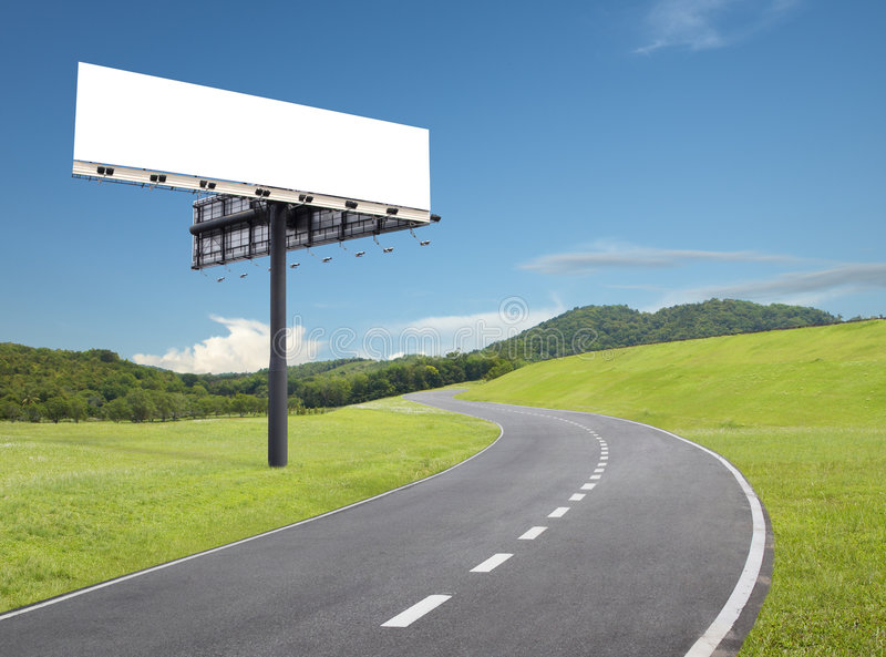 Download Billboard by the road stock photo. Image of hill, blue - 8687746
