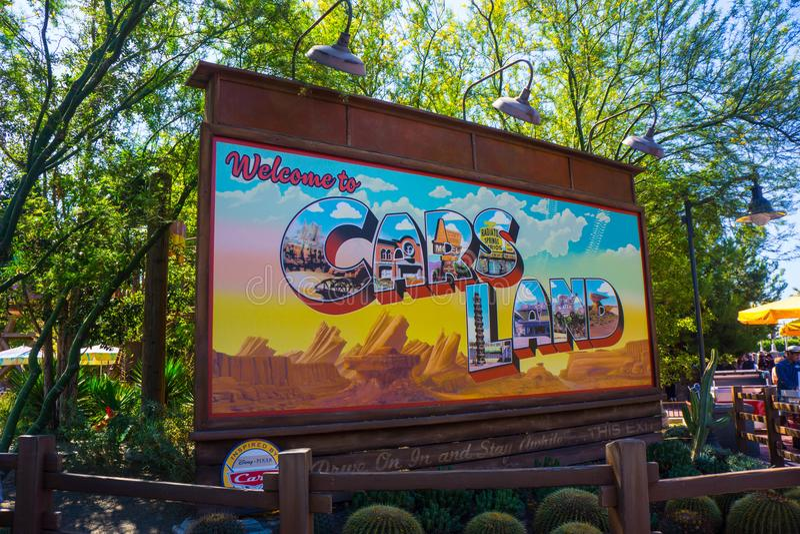 Cars Land Signage California Adventure Disneyland. Billboard sign greets visitors in Radiator Springs Cars Land. The Disney California Adventure amusement park royalty free stock image