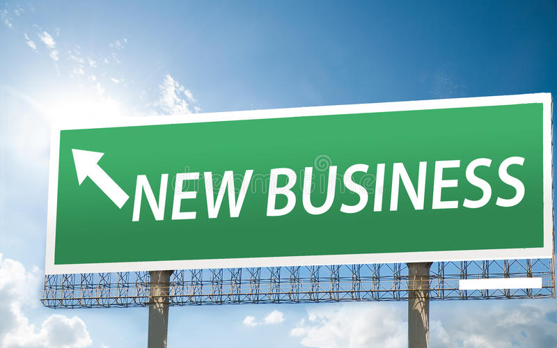 Billboard sign with a new business, start up concept. blue sky b stock photography