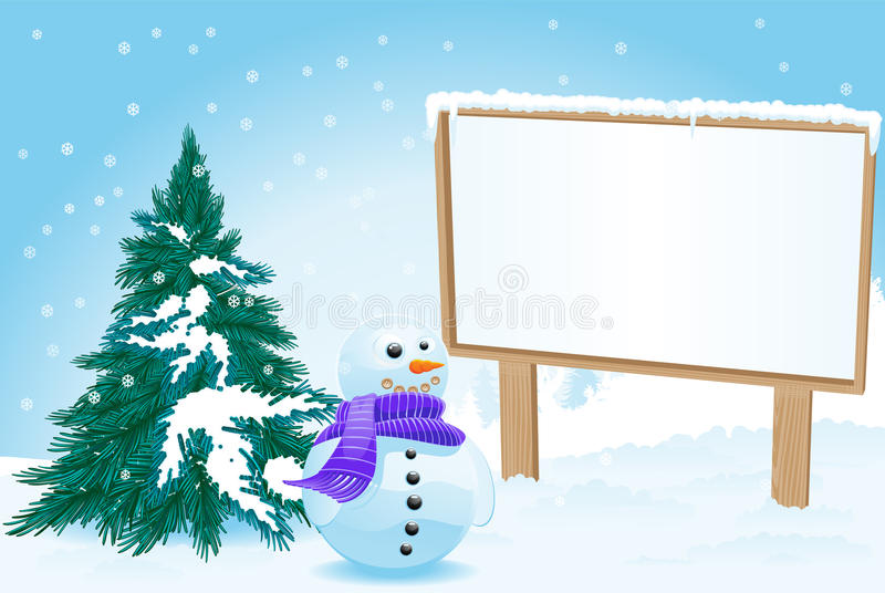Download Billboard with snowman stock vector. Image of commercial - 21607446