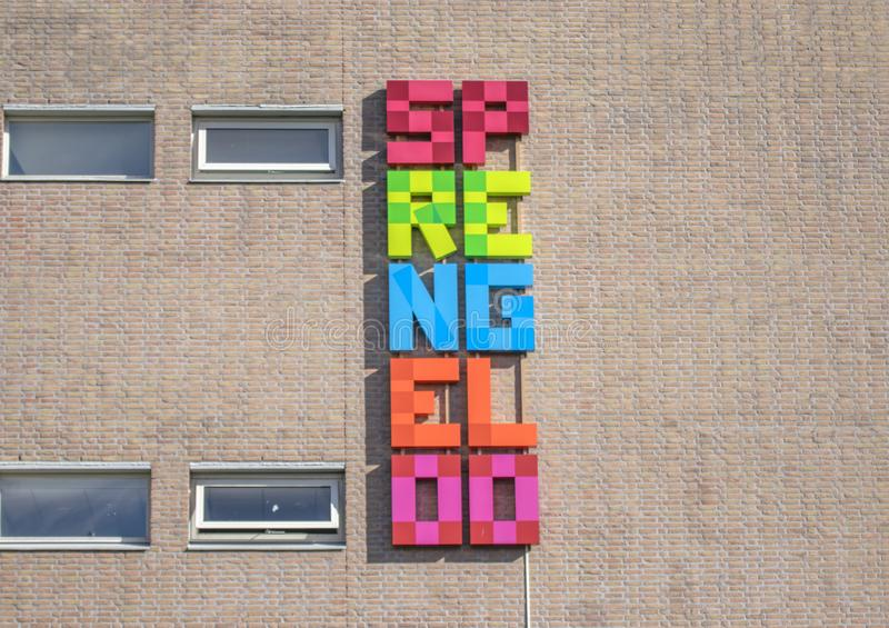Billboard From The Sprengeloo VMBO School At Apeldoorn The Netherlands 2018.  royalty free stock photography
