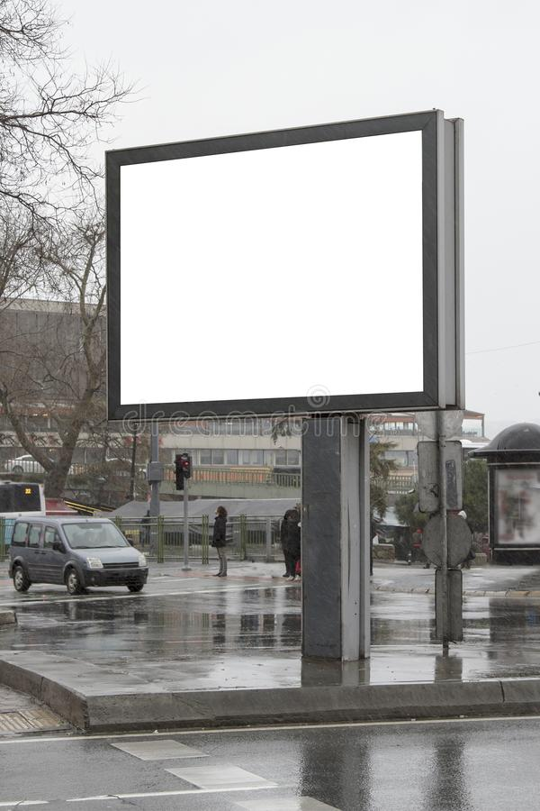 Billboard on street in winter stock photos