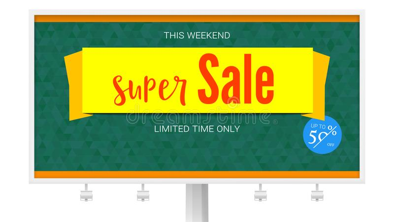 Billboard with Super Sale yellow banner on green background. Badge of Fifty percent discount. Horizontal poster for. Advertising events of holiday sales on vector illustration