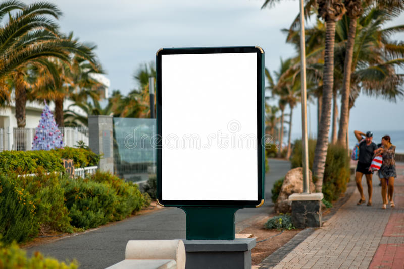 Billboard on tropical city background royalty free stock images