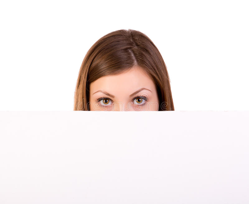 Download Billboard Woman Looking Over Sign Royalty Free Stock Images - Image: 28487069