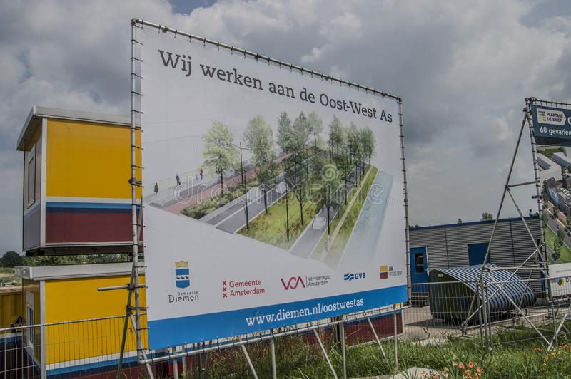 Billboard Work On The East-West Site At Diemen The Netherlands 2018. Billboard Wij Werken Aan De Oost-West As From The City Of Amsterdam And Diemen At Diemen The stock photography