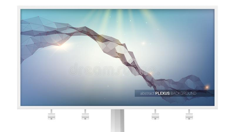 Billboard z abstrakcjonistycznym cyber tłem Plexus, pojęcia rzeczywistość wirtualna struktura, DNA, komunikacyjny związek ilustracja wektor