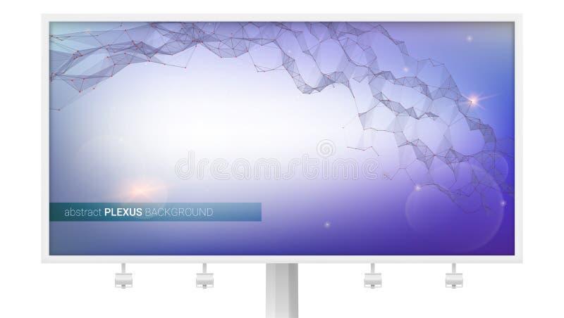 Billboard z abstrakcjonistycznym cyfrowym tłem Plexus komunikacyjny związek Struktura rzeczywistość wirtualna, DNA ilustracja wektor