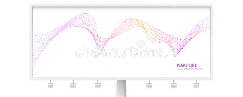Billboard z dynamicznymi spływanie falami odizolowywać na białym tle Kręcone linie, abstrakcjonistyczni faliści wirujący lampasy  ilustracja wektor