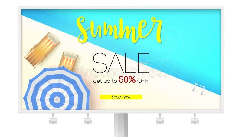 Billboard z lato sprzedaży akcją Czas ograniczająca oferta Dostaje up to pięćdziesiąt procentów rabat Odgórny widok błękitne wody ilustracja wektor