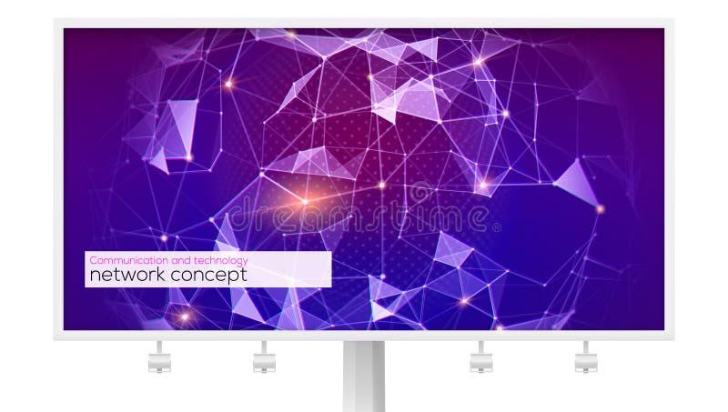 Billboard z wzorem plexus Pojęcie globalna sieć dla finanse, cryptocurrency, komunikuje Na całym świecie wymiana royalty ilustracja
