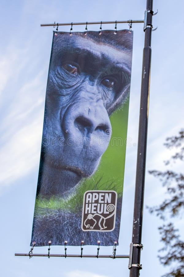 Billboard Zoo D'Apenheul À Apeldoorn Les Pays-Bas 2019 photos libres de droits