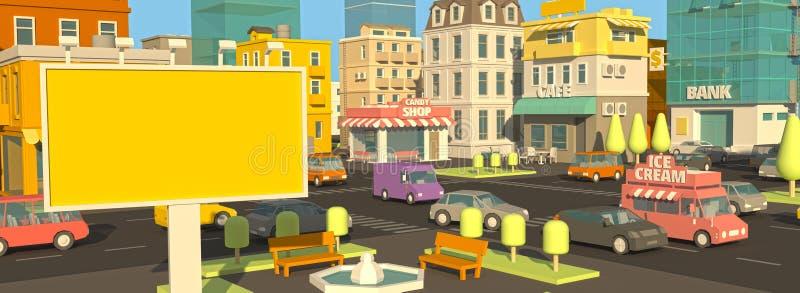 Billboarda sztandar na kreskówki ulicy panoramie Plenerowej reklamy światło dzienne Twój reklama w mieście 3d Bardzo Wysoki szcze ilustracja wektor