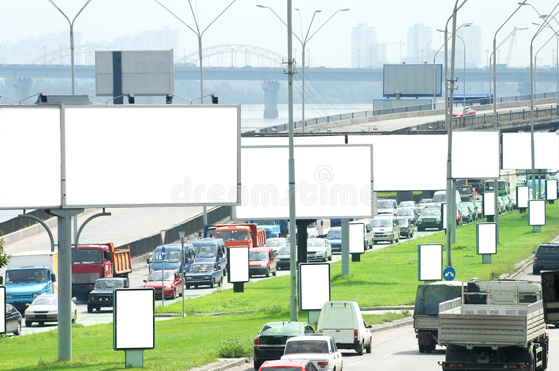 Billboards on Highway royalty free stock photography