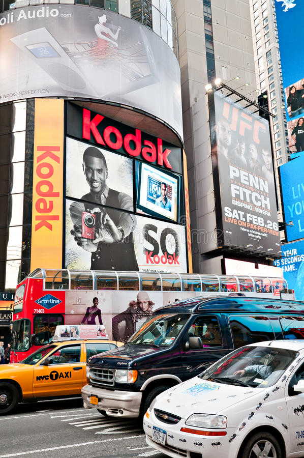 Billboards and traffic at Times Square royalty free stock photo