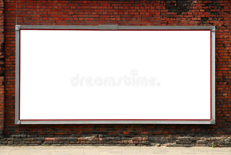 billboardu ściana z cegieł obrazy royalty free