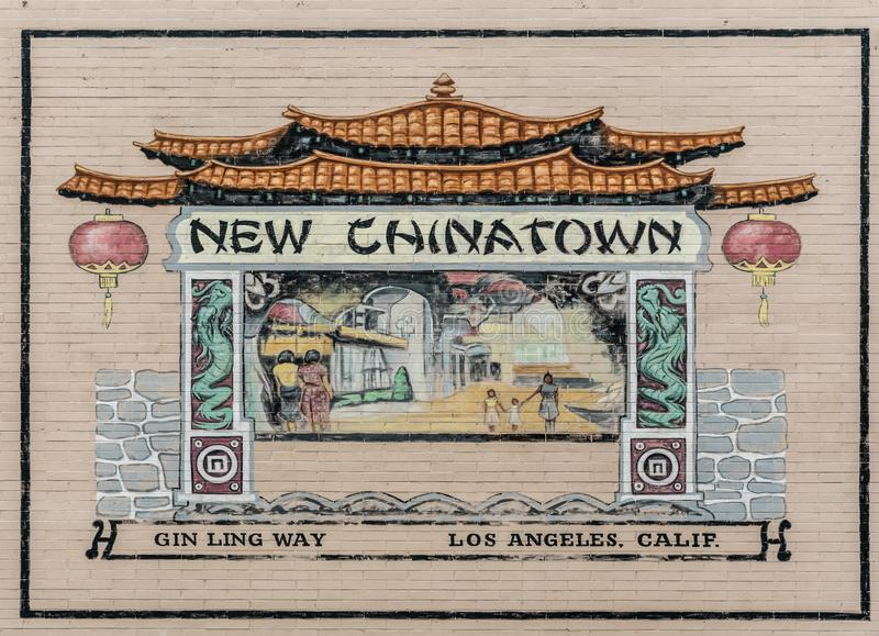 Billboardu ścienny obraz Chinatown Los Angeles, Kalifornia zdjęcia stock