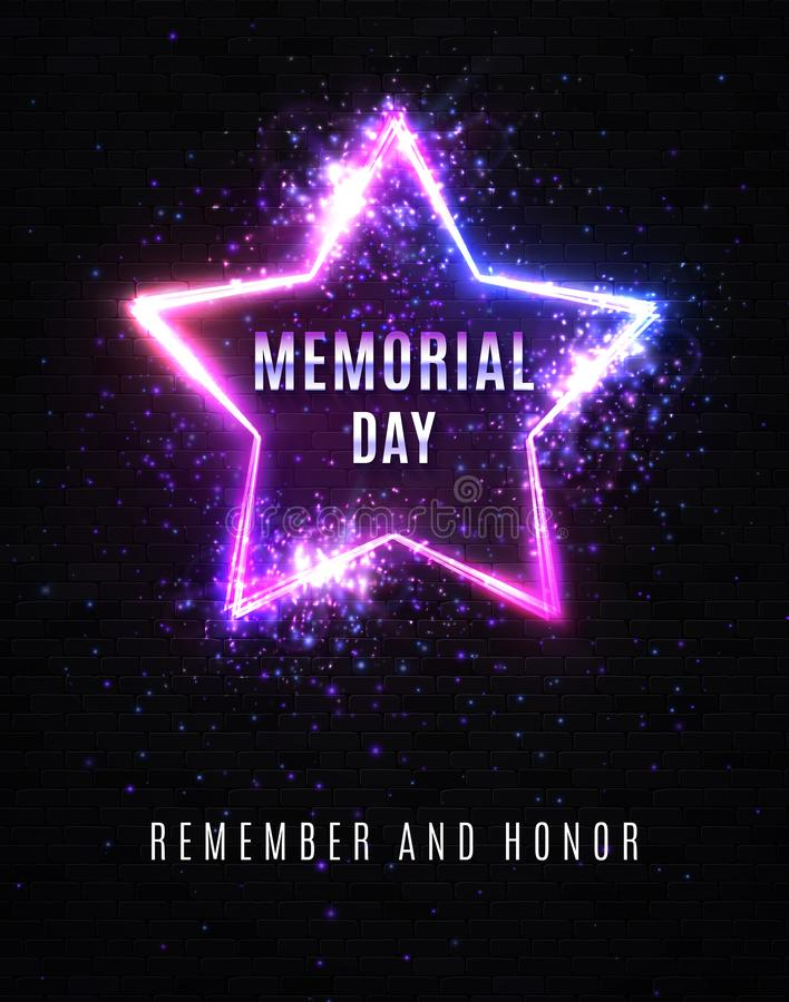 billboardu dzień odosobniony pamiątkowy biel Pamięta I Honoruje USA tło ilustracja wektor