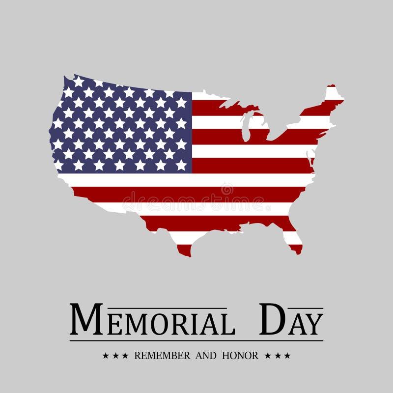 billboardu dzień odosobniony pamiątkowy biel USA mapy flaga w płaskim projekcie na lekkim tle ilustracja wektor