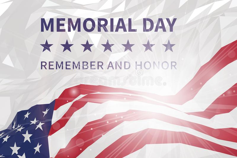 billboardu dzień odosobniony pamiątkowy biel Pamięta I Honoruje Flaga amerykańska w trójgraniastym st ilustracji