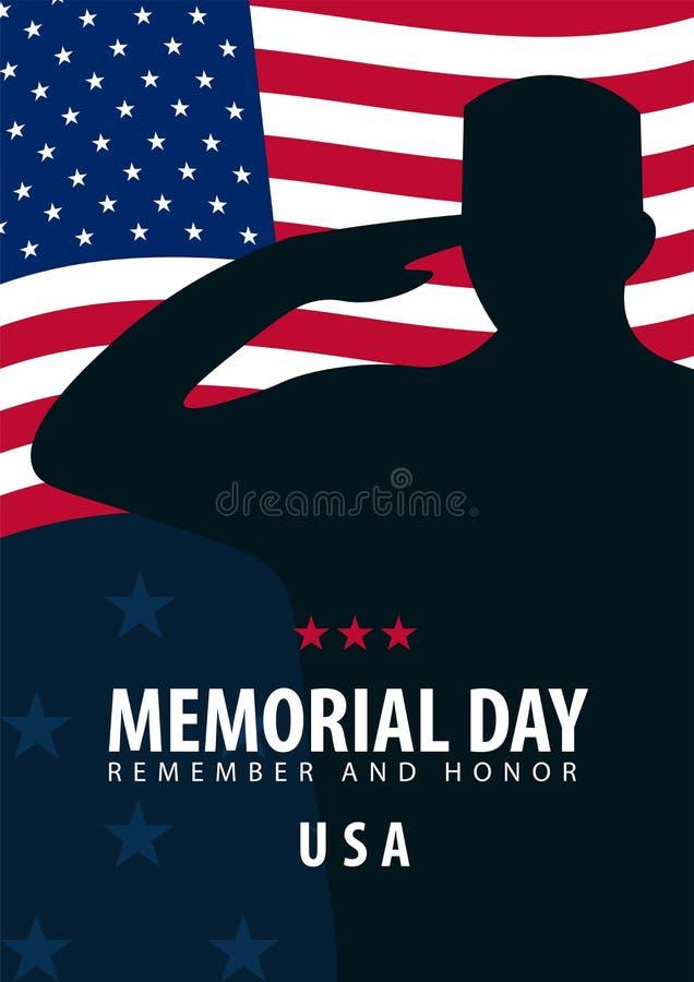 billboardu dzień odosobniony pamiątkowy biel Pamięta I Honoruje USA amerykańska flaga ilustracji