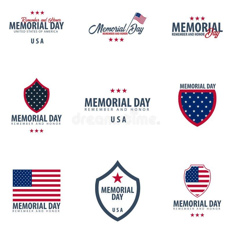 billboardu dzień odosobniony pamiątkowy biel Pamięta I Honoruje USA amerykańska flaga royalty ilustracja