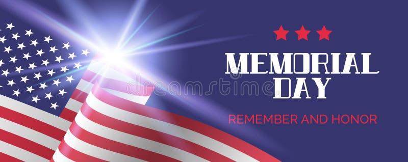 billboardu dzień odosobniony pamiątkowy biel Pamięta I Honoruje Wektorowy powitanie sztandaru szablon royalty ilustracja
